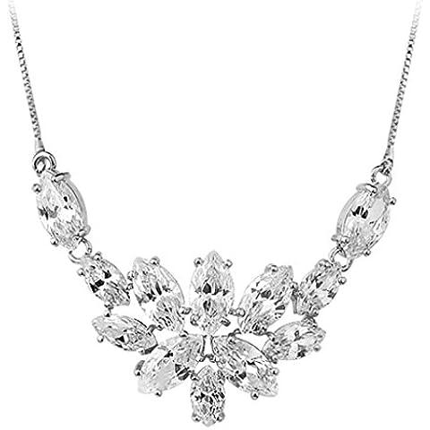 AienidD Cristales Regalos de Navidad-Collar Mujer Joven Blanco CZ Patrón de Flor Burbuja Oval 4 Garras Cuellos Dijes para las Mujeres