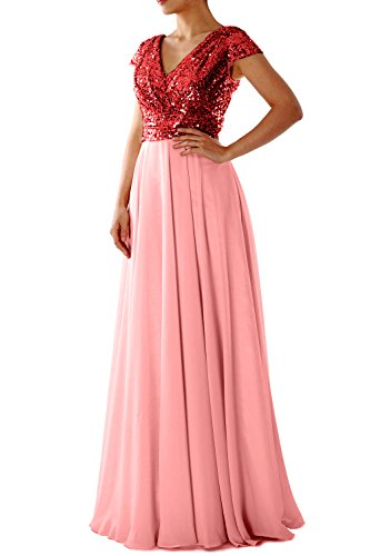 MACloth Cap Sleeve V Neck Sequin Chiffon Bridesmaid Dress Formal Evening Gown (Custom Size, Red Blush Pink) (Blush Sheer Chiffon)