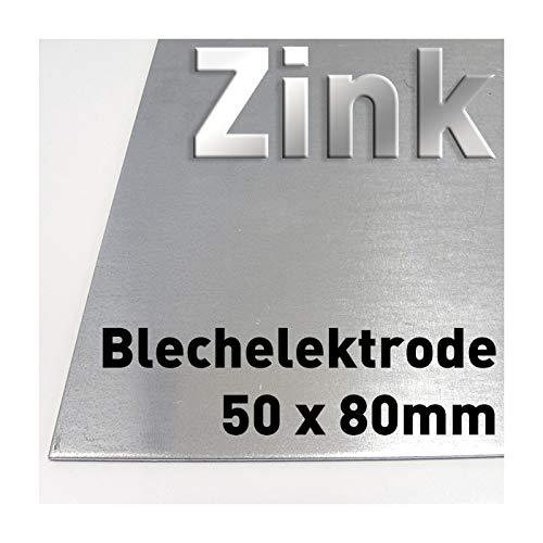 Zink-Blech 80 x 50 mm, Reinzink, als Anode/Elektrode (8 x 5 cm) für Zinkelektrolyt/Galvanik, Verzinken