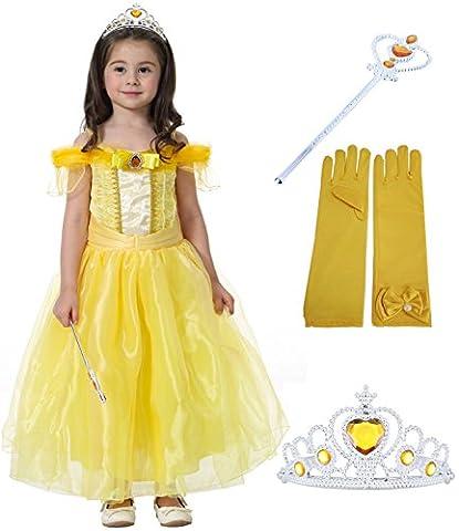 Fanryn Kleine Mädchen Prinzessin Kostüm Kleid Puffärmeln,Cosplay Halloween Geburtstag Party Kleid Fancy Kleid Mädchen Kinder Kleid Halloween Kostüm