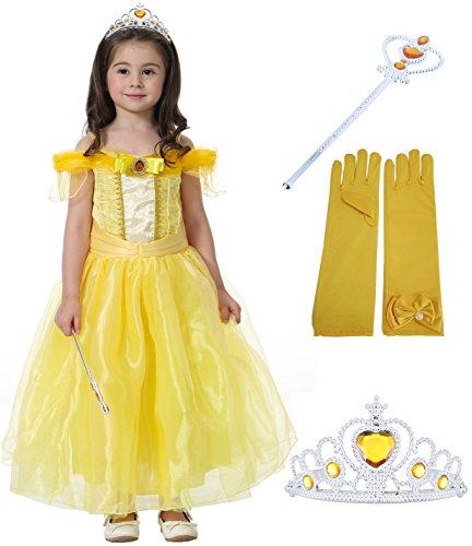 Fanryn Kleine Mädchen Prinzessin Kostüm Kleid Puffärmeln,Cosplay Halloween Geburtstag Party Kleid Fancy Kleid Mädchen Kinder Kleid Halloween (Plus Größe Mittelalter Kostüme)