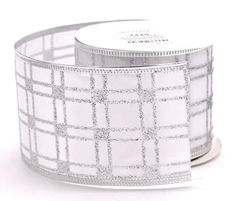 DARO DEKO Schleifenband aus Stoff 6,3 cm x 2,7 m in weiß kariert mit Glitzer - 1 Stück