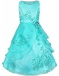 iEFiEL Vestido Largo de Fiesta de Noche Ceremonia Disfraz de Princesa Bordado Flores para Niñas Varios