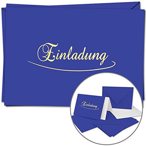 5 Einladungskarten im Set - DIN A6 - Komplett-Set aus Doppelkarte & Umschläge & Einleger, stilvolle Einladung für versch. Anlässe - Royal-Blaue Karten und Hüllen mit Gold-metallic Schrift