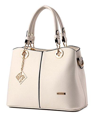 Tibes Art und Weise PU Leder Handtaschen Schul für Frauen Beige (Leder Beige Handtasche)