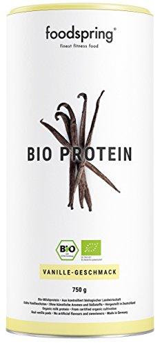 foodspring Bio Protein Pulver, Vanille, 750g, Eiweisspulver zum Muskelaufbau, Whey & Casein von Weidekühen, Hergestellt in Deutschland ohne Zusatzstoffe