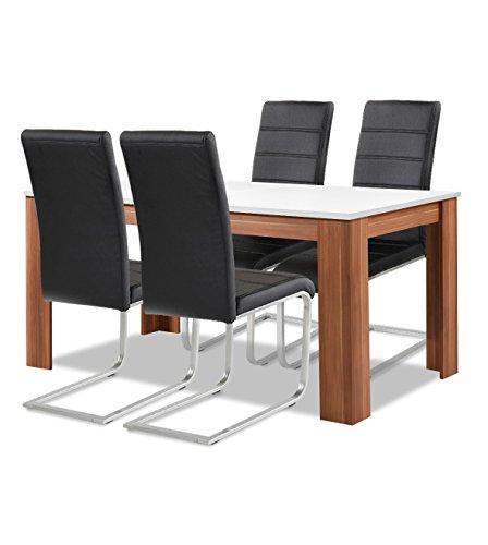 Agionda® Esstisch + Stuhlset : 1 x Esstisch Toledo Weiss Nussbaum 140 x 90 + 4 Freischwinger JAN PIET PU Kunstleder schwarz