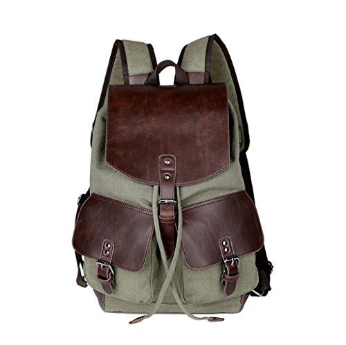 Super moderno vintage tela zaino moda Student zaino laptop bag Bookbag scuola borsa a tracolla in pelle per escursionismo, Uomo donna, Green Green