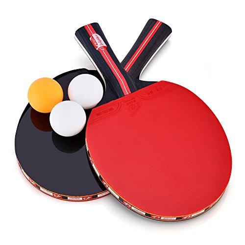 Set De Tennis De Table - 2 Raquette Ping Pong en Peuplier + 3 Balle+1 Sac de Rangement
