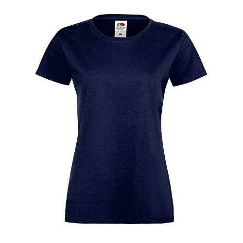 Fruit of the Loom Ladies Lady-fit Sofspun Fashion Fit Cotton T Shirt Deep Navy