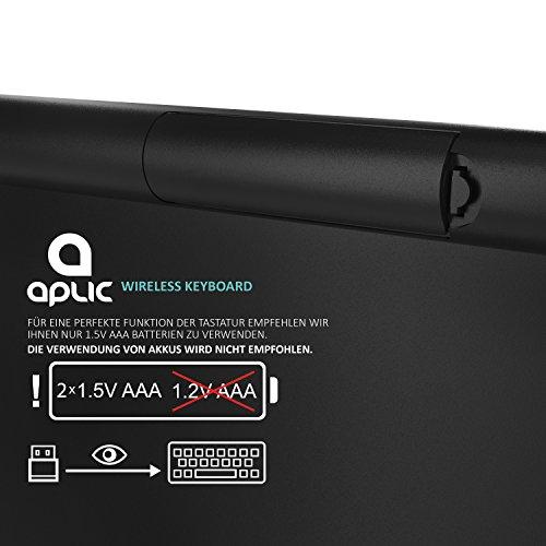 CSL - wireless Slim Tastatur / kabelloses Funk Keyboard | Wireless / 2,4G Lightweight Design | Multimedia Keys | QWERTZ-Layout (Deutsch) | schwarz - 5