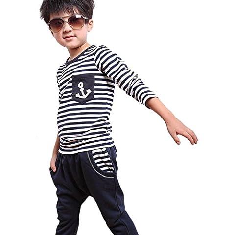 conjuntos niño la marina de guerra de la raya Linda 2 PIEZAS Camiseta + pantalones Koly (130 7-8Y)