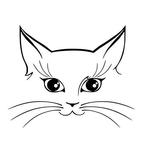 Katze Gesicht Muster Vinyl Wandaufkleber Für Kinderzimmer Wanddekor Kunst Decals Poster Tapete Wohnzimmer Wanddekoration Für Zuhause 58x71 cm (Giftig Malen Gesicht Nicht)