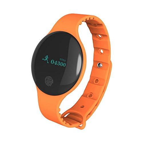 Muamaly Fitness Armband Mit Blutdruckmessung, Pulsmesser Wasserdicht Fitness Tracker Aktivitätstracker Pulsuhren Smartwatch Bluetooth Smart Watch Sport Armband Für iPhone Android Handy (Orange)