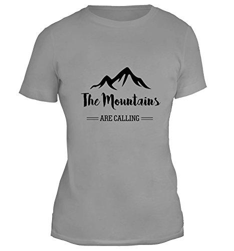 Mesdames T-Shirt avec The Mountains Are Calling Slogan Illustration imprimé. Gris