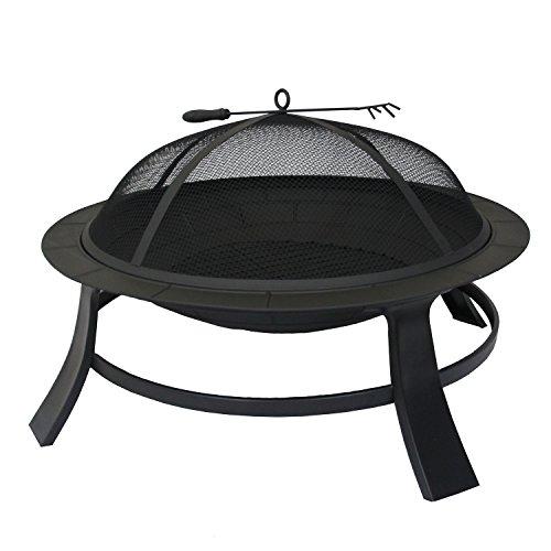 Métal fire bowl 76cm feu de camp noir grill barbecue feu panier grill jambes de poker robustes capuchon de protection bouchon d'allumage