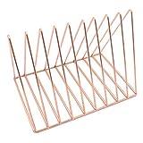 KOBWA Triangolo Book Storage Rack, Sturdy Desktop Bookshelf Magazine Stand/Holder, Organizer Document Cabinet Rack con 9sezioni per casa Ufficio Studenti Rose Gold