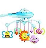 WEIHUIMEI 1 PC Bébé Musicale Berceau Mobile avec Lit Télécommandé Cloche Jouet Éducatif avec Pendaison Rotative Doux en Plastique Coloré Poupées (Blue)