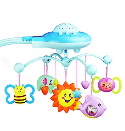 WEIHUIMEI 1 STÜCK Baby Musical Krippe Mobile mit Fernbedienung Bett Glocke Pädagogisches Spielzeug mit Hängen Rotierenden Weichen Bunten Plastikpuppen (Blue)