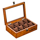 8 Gitter Uhrenbox  mit Glasplatte Schmuckständer Aufbewahrungsbox Veranstalter Armband Tablettboxen mit Metallverschluss 8 abnehmbare Kissen