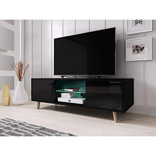 PRICE FACTORY just for you Meuble TV Design Eden 140 cm, 2 Portes et 2 niches, Coloris Noir Mat et...