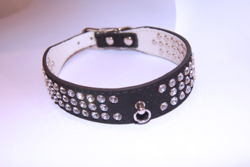 """Pet Palace® """"Debonair Doggy Suede Diamante Studded Luxury INK BLACK SMALL Collar for Dogs of Distinction with FREE CHARM ACCESSORY 3"""