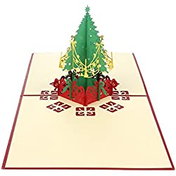 EOZY-3D Pop-Up Natale Biglietto d'Auguri Greeting Card Christmas in Carta Albero