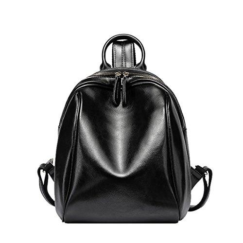 Dissa Q0870 Damen Leder Handtaschen Satchel Tote Taschen Schultertaschen Schwarz