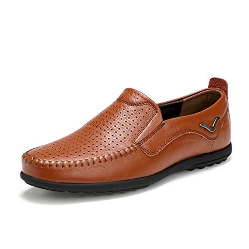 Herrenschuhe Sommer Herbst Erbsen Schuhe/Leder Breathable Herrenschuhe/Slip On Soft Bottom Faule Schuhe/Leicht fahrende Schuhe (Farbe : B, Größe : 44) - Womens Leder Slip