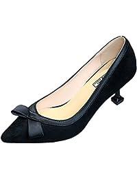 DIMAOL Zapatos de Mujer Cashmere Primavera Comodidad Tacones Stiletto Talón Señaló Toe Para Negro Casual Beige...
