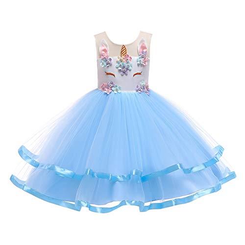 Huicai Blumenmädchen Einhorn Kostüm Party Hochzeit Brautjungfer Princess Dress (Kostüm Noeud Papillon)