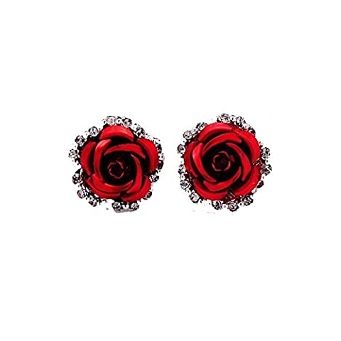 JIASTONE Rose Flower Crystal Rhinestone Ear Stud Pierced Earrings New