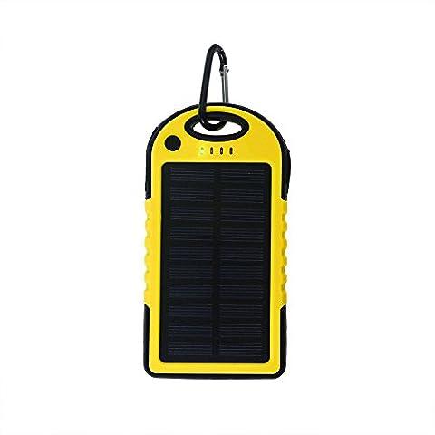 Lugii Cube banque de puissance de batterie externe avec LED Lumière solaire universel Power Bank 5000mAh Haute Capacité chargeur solaire double USB Portable, jaune