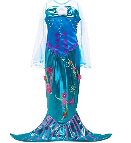 IWFREE Meerjungfrau Kostüm Kleid Kinder Mädchen Arielle Kostüme Prinzessin Kleider Abendkleid Halloween Cosplay Verrücktes Kleid Geburtstag Party Ankleiden