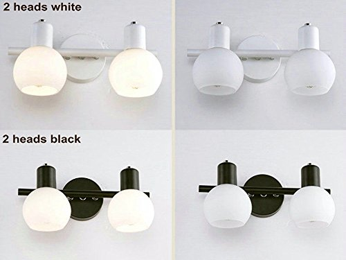 Spiegel Licht im Badezimmer Wand Lampe Make-up Kosmetik e14 Scheinwerfer Eitelkeit, schwarz 2 Köpfe 30 cm Kaltweiß Led - Schwarz-badezimmer-eitelkeit Spiegel