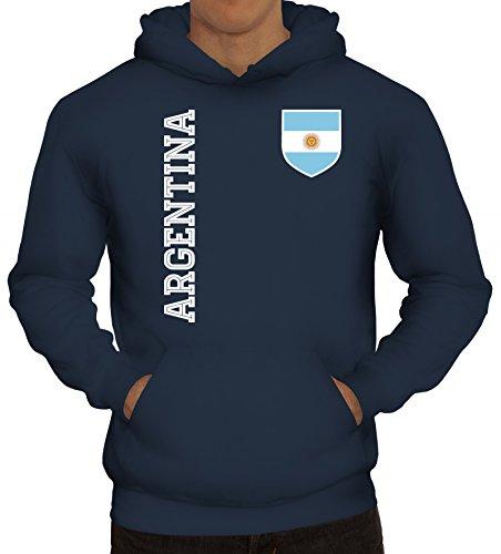 Argentinien Fußball WM Fanshirt Gruppen Herren Hoodie Männer Kapuzenpullover Fan Trikot Argentina, Größe: L,Navy