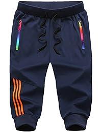 Yying 3 4 Moda Raya Pantalones Cortos Deportivos para Hombre Fitness Jogging  Running Pantalón con d3ff6a476529