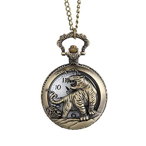 HJKLO Taschenuhr Brown Pocket Watch Herren Vintage Tiger hohl/geschnitzt Quarz Taschenuhr Halskette AnhängerFrauen Männer Geschenk, Bronze