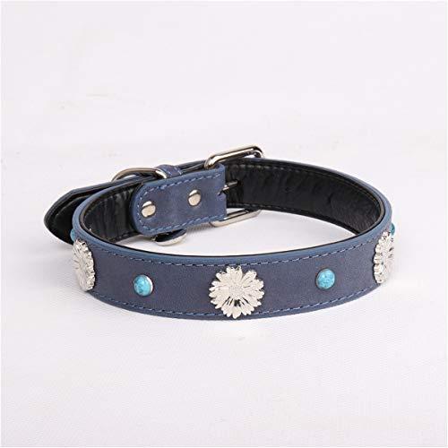 gen Blaue Kunst Schneeflocke Leder Hundehalsband Leder Hundehalsband, M ()