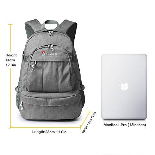 Mountaintop 25L/30L dauerhaft lässig Daypack Studenten Rucksack ideal für die Uni lässige Tasche, 44 x 28 x 13 cm/33x19x50 cm Grey