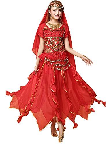 Indische Bauchtanz Kostüm - besbomig Professionel Damen Bauchtanz Kostüm - 6 Stück Kurze Ärmel Sequenziert Indischer Tanzsatz Performance-Kleidung