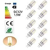 Kertou G4 LED Lampe 1.5W DC 12V Glühbirne Leuchte Energiesparbirne Ersatz für Halogenlampen (Warmweiß/ 10er)