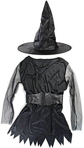 Damen Hexen-Kostüm Magierin Zauberer-Verkleidung Cosplay LARP Frau Fasching Karneval Halloween (Frau Magierin Kostüm)