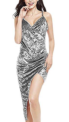 Cocktailkleid Damen V Ausschnitt Mit Ärmel Trägerlos Rückenfrei Eng Elegant Vintage Sommer Irregular Kurz Kleider Ballkleid Grau