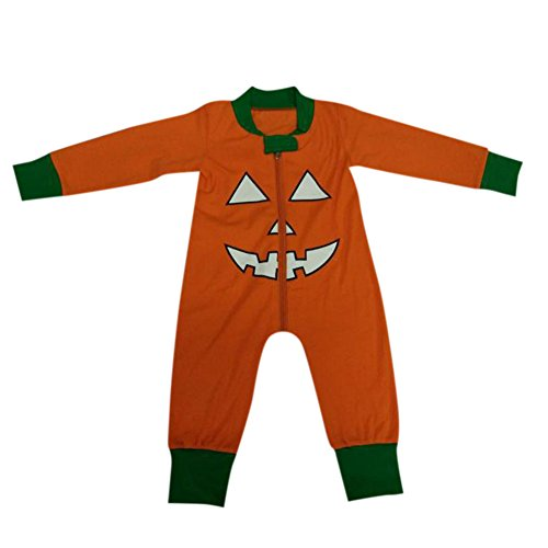 Halloween Wolf Neugeborenen Kostüme (Zantec Kleinkind Neugeborenes Baby langes Hülsen runder Ansatz Kürbis Muster Spielanzug Jungen Mädchen 2pcs kleidet)