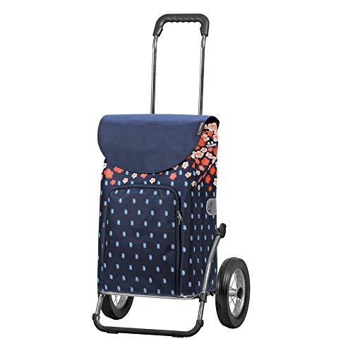 Andersen Einkaufstrolley Royal Stahlgestell klappbar mit Metallspeichenrad 25 cm und 41 Liter Einkaufstasche Lily mit Kühlfach blau/orange