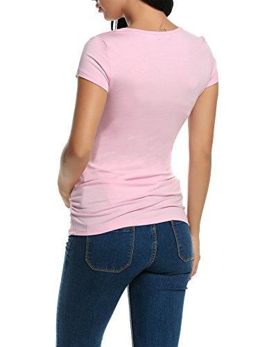 hotouch Donna Incinta maglietta Stillshirt Shirt Premaman per gravidanza maternità Camicetta con scollo rotondo Neu-Rosa