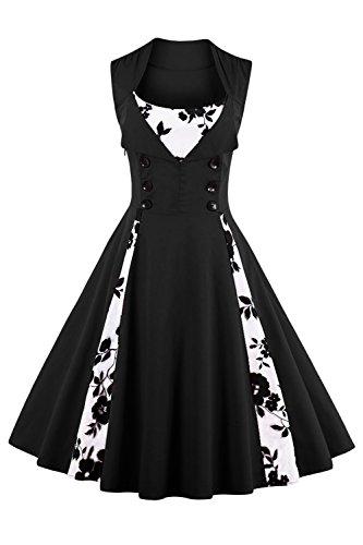 (Babyonline Damen 1950er Vintage Abendkleid Elegant Retro Geblümt Cocktailkleid Faltenrock Kleid Schwarz XL)
