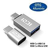 ICZI USB C a Micro USB Adattatore e USB C a USB 3.0 Adattatore Alluminio per Nexus Huawei LG G5 G6 Honor 8 Asus ZenFone 3 One P lus 2 3 3T Nintendo Switch e Altri