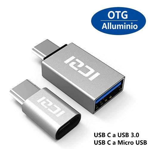 ICZI Adattatore USB C a Micro USB e Adattatore USB C a USB 3.0 Alluminio, Connettore Tipo C, per Nexus Huawei LG G5 G6 Honor 8 Asus ZenFone 3 One Plus 2 3 3T Nintendo Switch e Altri